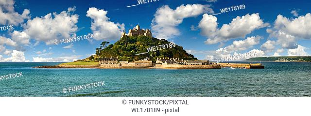 St Michael's Mount tidal island, Mount's Bay, Cornwall, England, United Kingdom