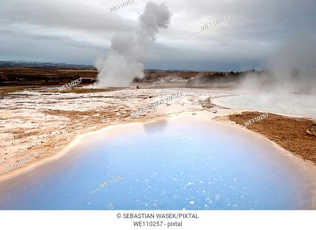 Blesi and Strokkur geyser South West Iceland, Golden Triangle geysir area, Geysir, Iceland