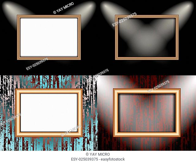 Set of Blank frame on a color wall lighting, abstract colored background with spotlights