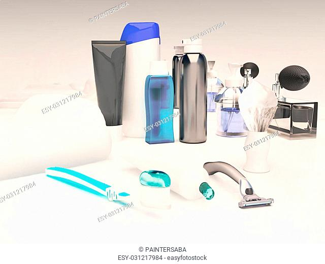 Toothpaste, brush, soap, balm, razor, shaving brush, towel, shampoo,perfume, mirror