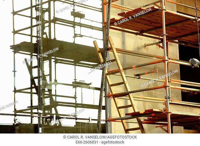 Scaffolding on the under construction 'Maankwartier' near the train station in Heerlen