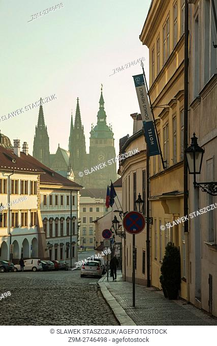 Autumn morning at Hradcany, Prague, Czech Republic. Looking towards St Vitus cathedral