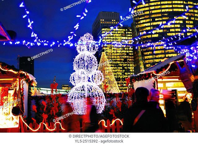 Paris, France, Christmas Shopping, X Shopping, Crowd at Traditional Christmas Market at La Defense Business Center, Night