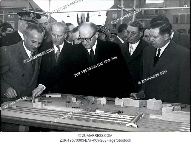Mar. 03, 1957 - Premier Mollet Lays Foundation Stone of New Arras Station: M. Guy Mollet, the french Prime Minister, Presided at the ceremony of laying the...