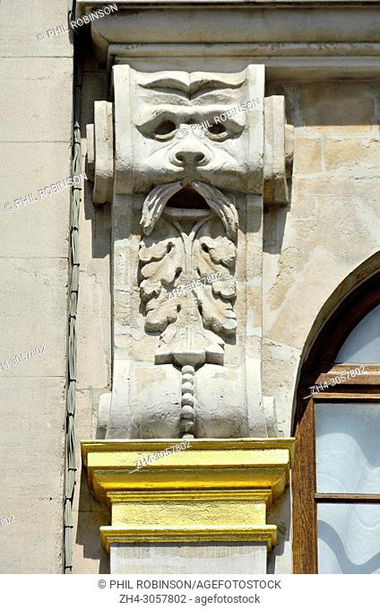 Brussels, Belgium. Grand Place: Mascaron on facade of no. 26 - 'Maison du Pigeon'