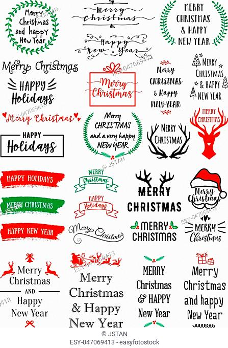 Christmas text overlays for cards, banners, tags, set of vector graphic design elements