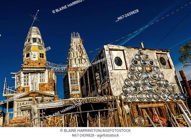 "A """"castle"""" (El Castillo) built single-handedly by local man Cano Espinoza, Antonito, Colorado USA. Cano says his main influences for the Castle are """"Vitamin..."