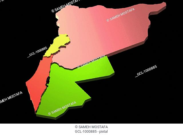 map of Jordan, Syria, Palestine and Lebanon