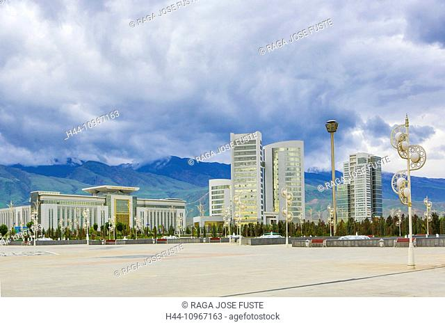 Ashgabat, Chandybyl, Turkmenistan, wide, architecture, city, cloudy, district, new, skyline, touristic, town, travel