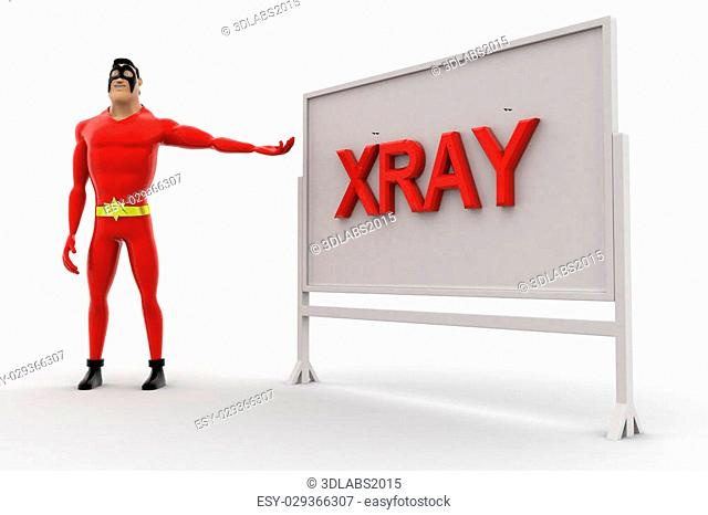 3d superhero xray board concept on white background, side angle view