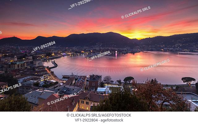 Sunset on Como, lake Como, Lombardy, Italy, Europe