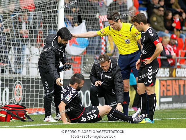 Football match League second division professional football. Anxo Carro played at the stadium, Lugo vs Albacete