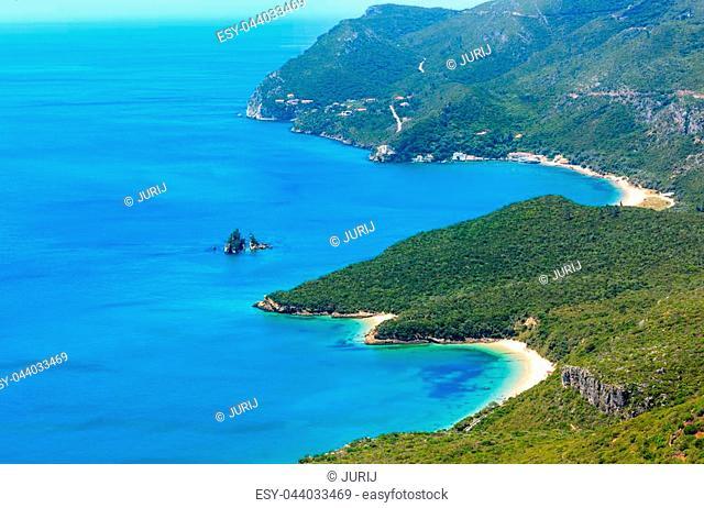 Summer sea coastal landscape (with sandy beach) of Nature Park Arrabida in Setubal, Portugal