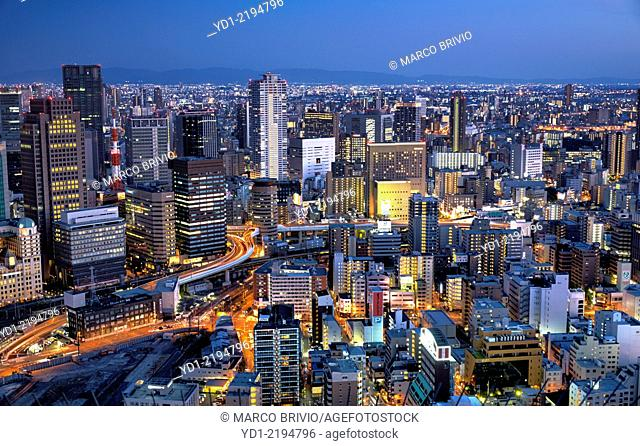 The cityscape of Osaka from Umeda Sky Building