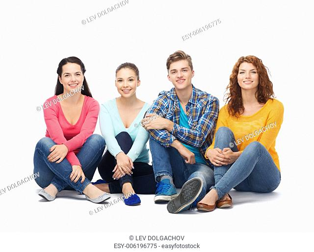 friendship, youth and people - group of smiling teenagers