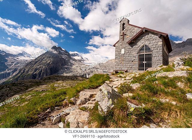 Val Genova, Adamello-Brenta natural park, Trentino-Alto Adige, Italy. A small church in memory to soldiers near Mandrone refuge