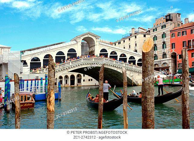 Venice, Veneto, Italy - September 5, 2016: Rialto Bridge at the Grand Canal of Venice in Italy - Caution: For the editorial use only