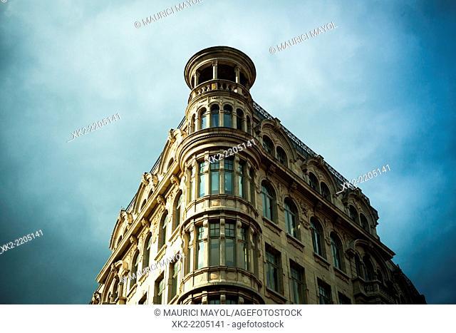 Corner of lassical wealthy building in Antwerp, Belgium