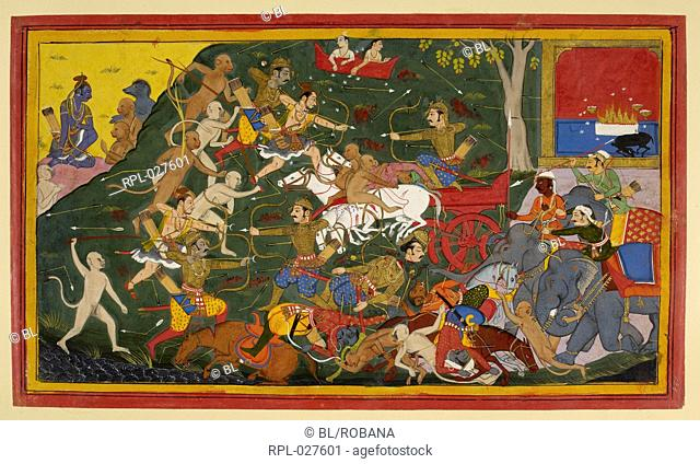 Lakshmana slays Indrajit, A battle scene depicting the fight between Lakshmana & Bibishana and Indrajit. Indrajit's sacrificial fire of a black kid is set in...