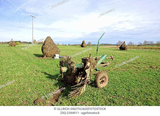 Haytedder and haystacks after the haymaking