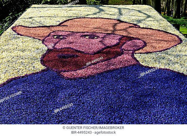 Portrait by Vincent van Gogh from different petals, flower show Keukenhof, Lisse, The Netherlands