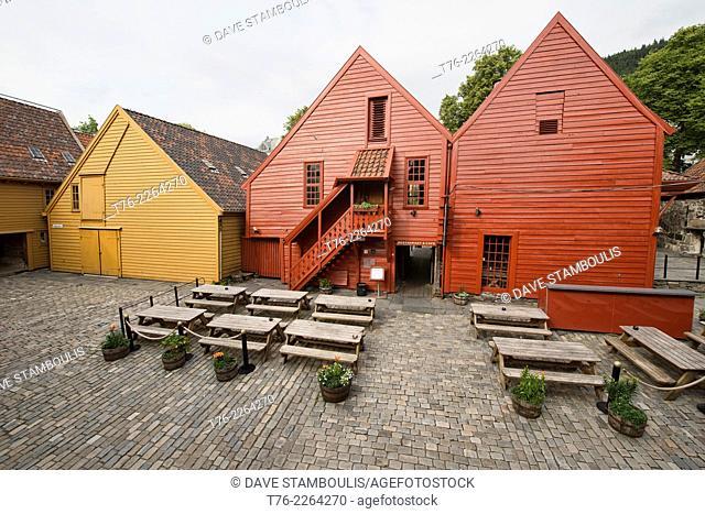 Historic buildings in the old Bryggen harbor, Bergen, Norway