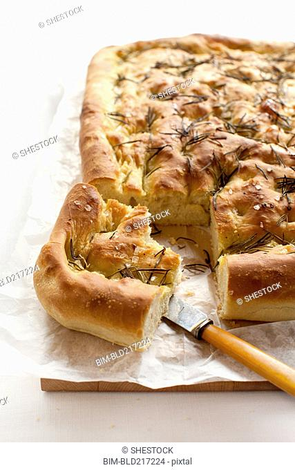 Close up of focaccia bread with herbs