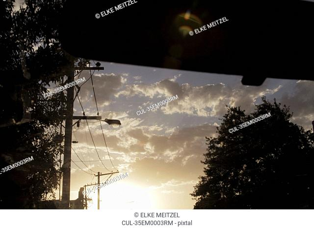 Sunset viewed from car