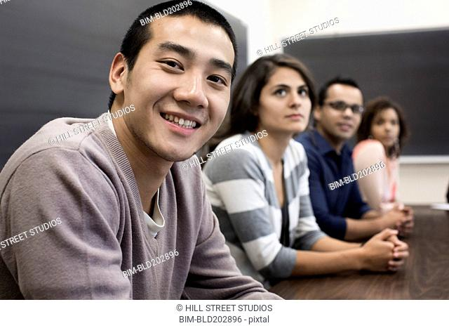 Students smiling in classroom