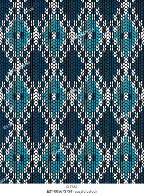 Knit Woolen Seamless Jacquard Ornament Pattern. Fabric Dark Blue