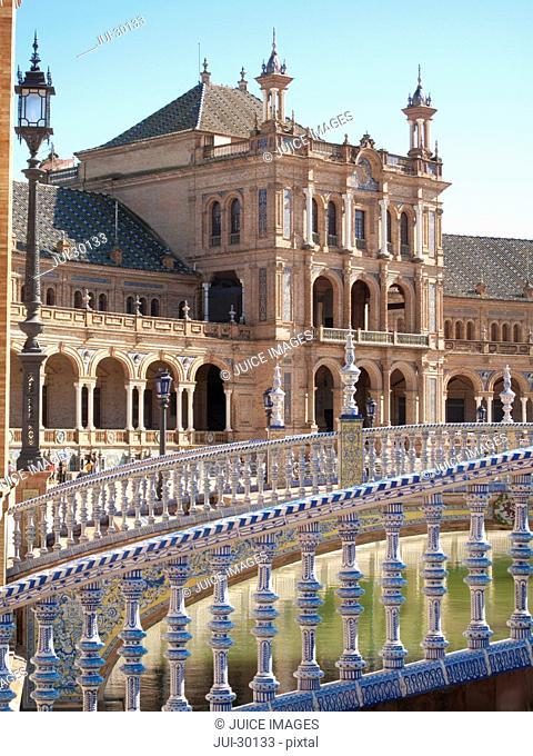 Ornate building in Plaza de Espana, Seville, Spain