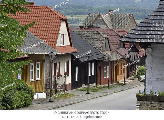 Jozefa Pilsudskiego street, village of Lanckorona, renowned for its well preserved 19th century wooden houses, Malopolska Province (Lesser Poland), Poland