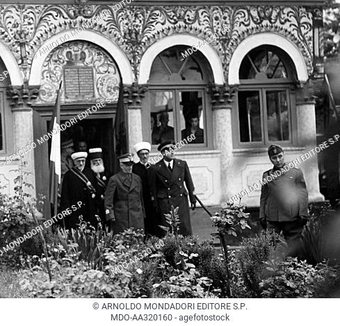 Vittorio Emanuele III in a religious ceremony in Tirana. The King of Italy Vittorio Emanuele III of Savoy and the Foreign Minister Galeazzo Ciano