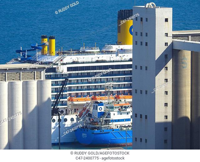 Cruise ship. Barcelona port. Spain