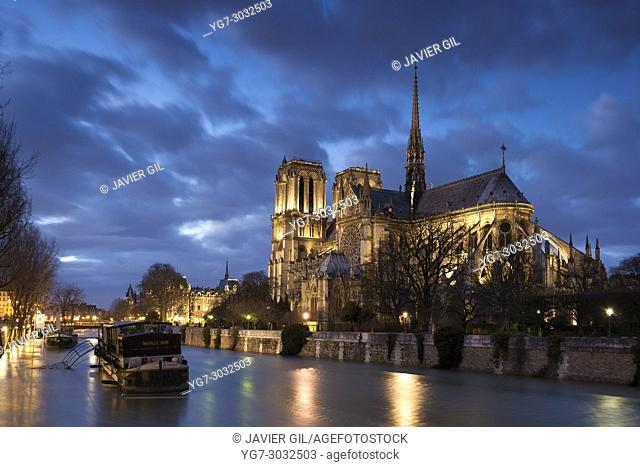 Notre Dame cathedral and Seine river, Paris, France