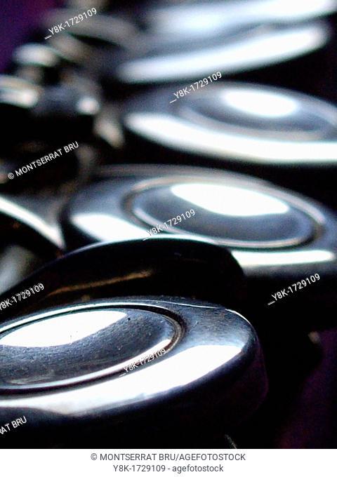Transverse flute keys closeup, music instrument