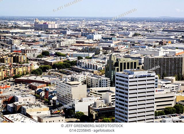 California, CA, Los Angeles, L.A., Downtown, Civic Center district, Los Angeles City Hall, tower observation deck, skyline, aerial view, buildings
