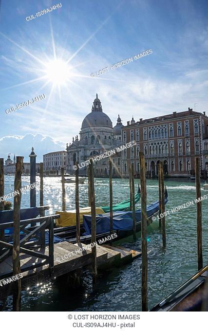 Gondolas on Grand Canal with a view of the church of Santa Maria Della Salute, Venice, Veneto, Italy