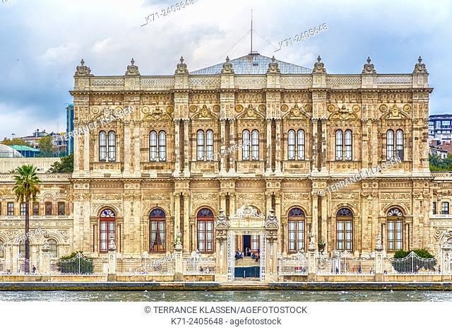 The Dolmabahçe Palace entrance as seen from the Bosphorus strait near Istanbul, Turkey, Eurasia