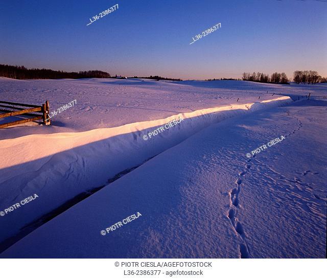 Poland. Winter in Suwalski region, the coldest part of Poland