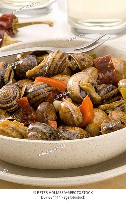 Spanish Cuisine Caracoles en salsa Snails in sauce