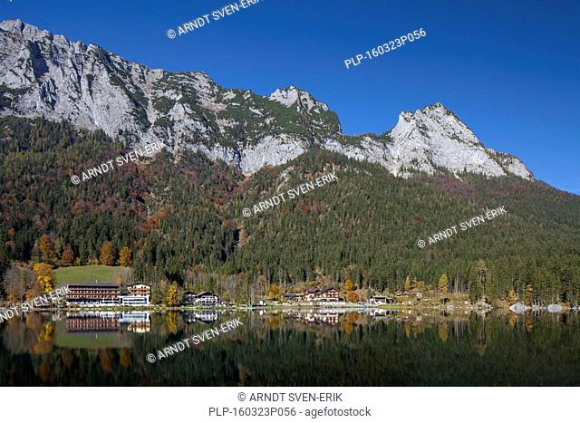 Hotels and CVJM Aktivzentrum Hintersee along Lake Hintersee in the Bavarian Alps, Berchtesgadener Land, Upper Bavaria, Germany
