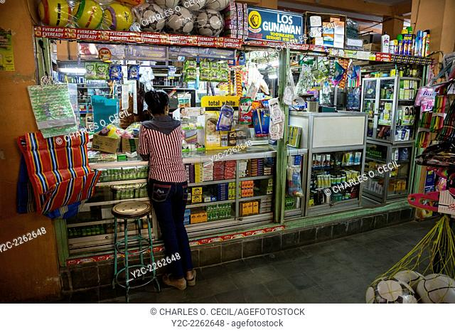 Yogyakarta, Java, Indonesia. Shop Selling Toiletries and Personal Care Items, Beringharjo Market