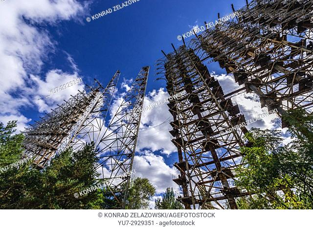 Old Soviet radar system called Duga near Cherobyl town in Chernobyl Nuclear Power Plant Zone of Alienation around nuclear reactor disaster in Ukraine