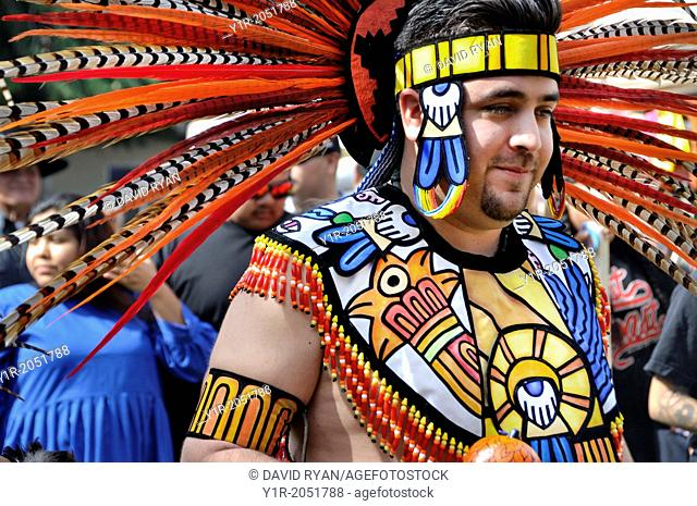 Cupa Day Festival, Pala Indian Reservation, Aztec dance troup, man in Aztec regalia