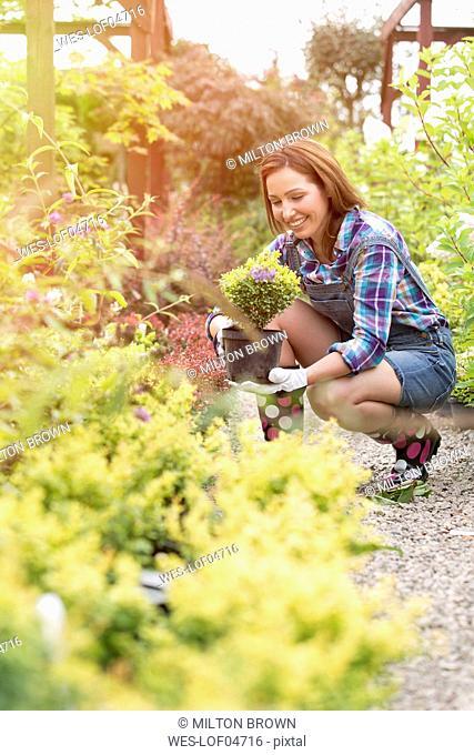 Smiling gardener at work in a nursery