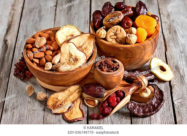 Mix of dried fruits and almonds - symbols of judaic holiday Tu Bishvat
