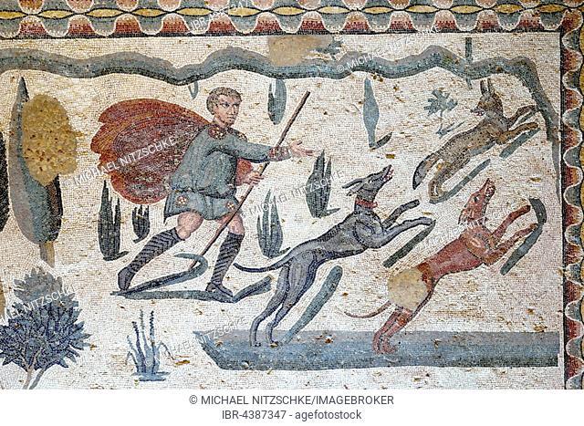 Ancient floor mosaic, Villa Casale, Villa Romana del Casale, Piazza Armerina, Sicily, Italy