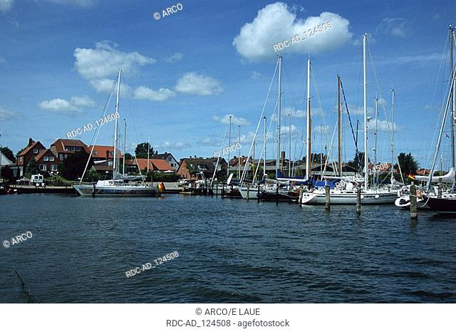 Sailing boats in harbour river Schlei Arnis Schleswig-Holstein Germany