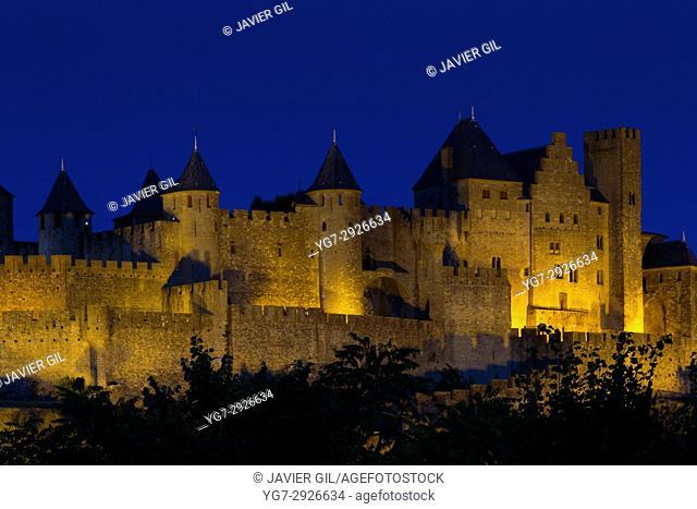 Nightfall in Carcassonne, Aude, France